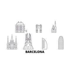 spain barcelona city line travel skyline set vector image