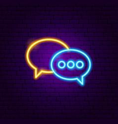 speech bubble neon sign vector image