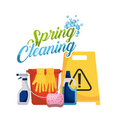 spring cleaning gloves bucket sponge spray and vector image