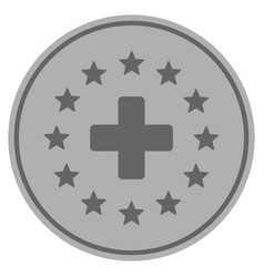 Starred medical cross silver coin vector