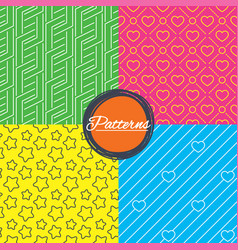 Stars diagonal lines and hearts textures vector
