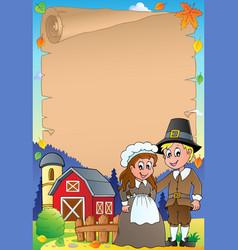 Thanksgiving theme parchment 4 vector