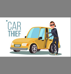 Thief and car breaking into car insurance vector