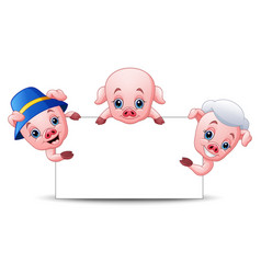 three little pigs cartoon with blank sign vector image