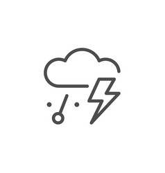 thunderstorm and hail line icon vector image