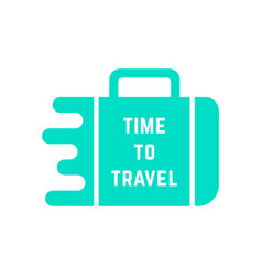 Time to travel with green melted suitcase vector