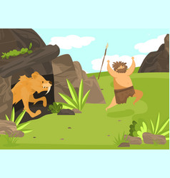 Unsuccessful hunting character male saber vector