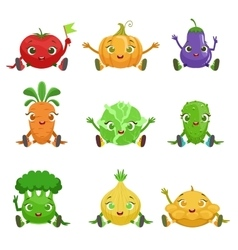 Vegetables Cute Girly Characters Sitting And vector