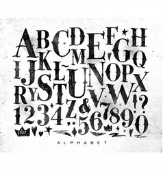 Vintage gothic alphabet vector