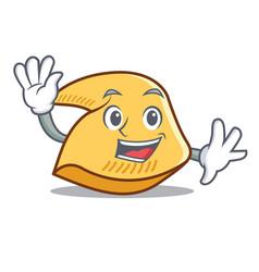 Waving fortune cookie character cartoon vector