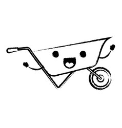wheelbarrow flat icon monochrome cartoon blurred vector image