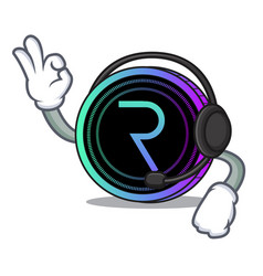 With headphone request network coin mascot cartoon vector