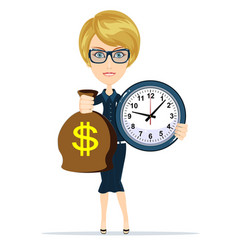 woman holding a money bag and clock vector image