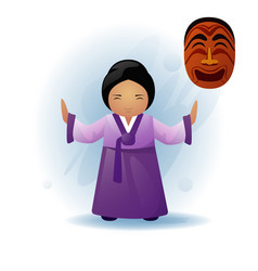 Woman in traditional asian clothes kimono dancing vector