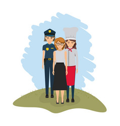 Color landscape with policewoman and female cook vector