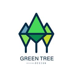 green tree logo template original design abstract vector image vector image