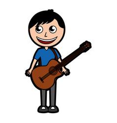 guitar body man cartoon vector image