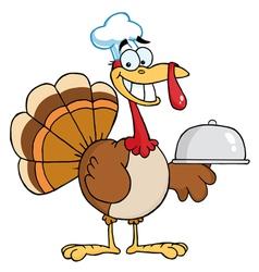 Happy Turkey Chef Serving A Platter vector image vector image