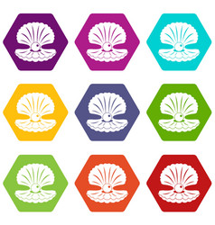 pearl in a shell icon set color hexahedron vector image