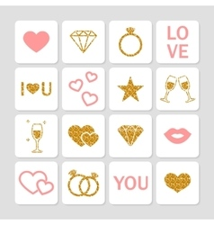 Valentines day golden glitter design elements set vector image vector image