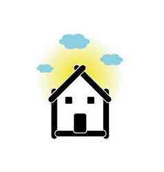 House with sticks and cloud vector image
