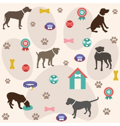 Seamless pattern dog icons vector image