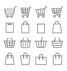 shopping cart and bag set vector image