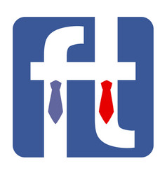 two letter f dressed in the tie shirt and suit vector image vector image