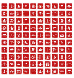 100 winter holidays icons set grunge red vector image vector image