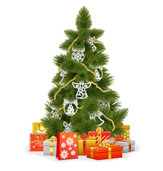 Christmas Tree with Paper Decorations vector image vector image