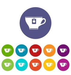 Cup with teabag set icons vector image vector image