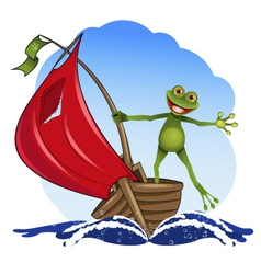 frog on a boat vector image vector image