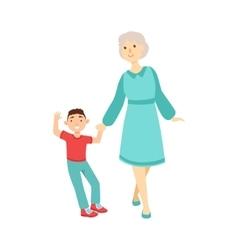 Grandmother And Grandson Walking Holding Hands vector image
