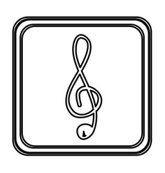 Monochrome contour with button of treble clef vector