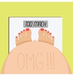 Pregnant sees herself standing on the scales vector