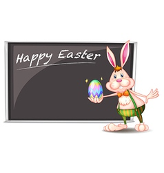 A happy easter greeting with a bunny beside a gray vector image vector image
