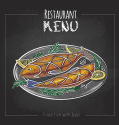Chalk drawing menu design fried fish vector