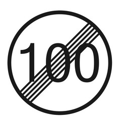end maximum speed limit 100 sign line icon vector image
