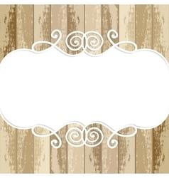 frame for design on wooden background vector image vector image