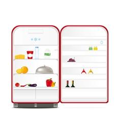 Red retro fridge vector image