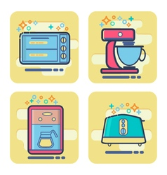 set of cartoon home appliance icon vector image