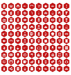 100 kitchen utensils icons hexagon red vector
