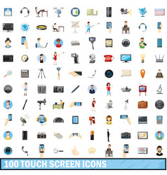 100 touch screen icons set cartoon style vector