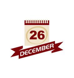 26 december calendar with ribbon vector