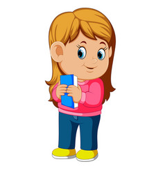 a girl hugging a book vector image