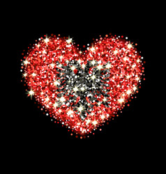 Albania flag sparkling heart badge vector