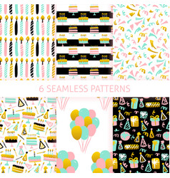birthday trendy seamless patterns vector image