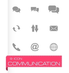 black communication icon set vector image