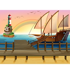 Boat and pier vector