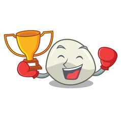 Boxing winner mozzarella cheese isolated on mascot vector